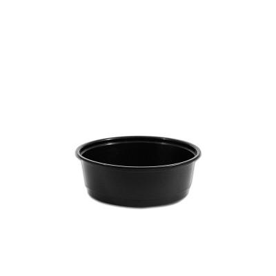 Towerpac Black Round Container w/ Flat Base 250cc - PP | 100pcsx5pkts