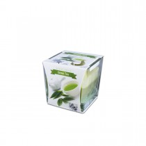 Fun® Scented Candles in Square Glass  8x8x8cm - Green Tea   1pcx6pkts