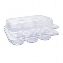 Muffinpac Clear Container w/ 6 Muffin Comp. and Hinged Lid 225x180x76mm PET | 400pcs