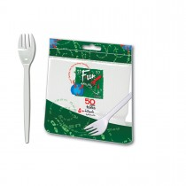 Fun® Plastic Fork 6.5in - White | 50pcsx40pkts