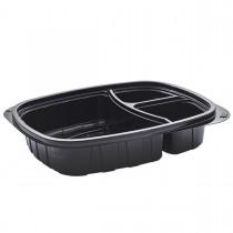 Tutipac 3-Comp Black Cold Multipurpose Containers PET | 250pcs