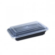 Black Rect. Microwavable Container 24oz - w/Lid | 150pcs