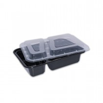 Black Rect. Microwavable Container 32oz 2-Comp.- w/Lid  | 150pcs