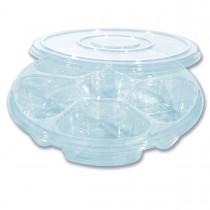 Combopac 6-Comp. Clear Round Container + Lid | 50pcsx2pkts