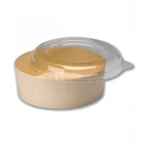 Round Wooden Container 12oz + Clear Lid ⌀130x45mm | 300pcs