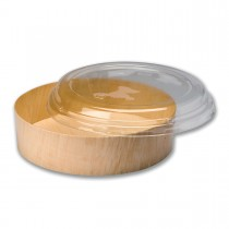 Round Wooden Container 24oz + Clear Lid ⌀175x45mm   200pcs