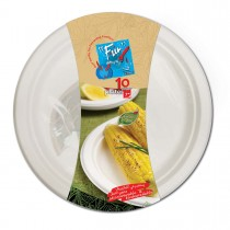 Fun® Biodegradable Moulded Fibre Plate ⌀7in | 10pcsx25pkts