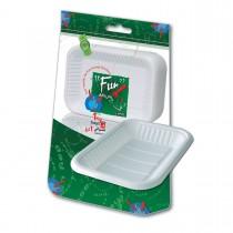 Fun® Rectangular Plastic Tray No.1 - White | 1Kgx10pkts