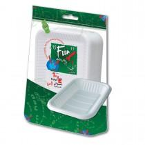 Fun® Rectangular Plastic Tray No.4 - White | 1Kgx10pkts