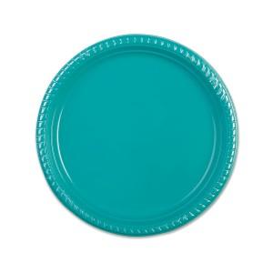 Plastic Plate ⌀22cm - Turquoise   25pcsx20pkts