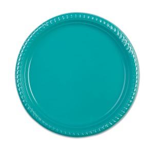 Plastic Plate ⌀25cm - Turquoise   10pcsx25pkts