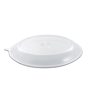 Roundpac Dome Lid w/ Spork Slot for Round Plate ⌀26cm - PP/Clear Deluxe   25pcsx10pkts