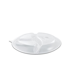 Roundpac Dome Lid 3-Comp. w/ Spork Slot for Round Plate/Cont. ⌀22cm - PP/Clear Deluxe   25pcsx10pkts